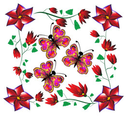 abstract butterfly in a frame of red flowers.
