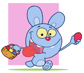 Blue Bunny Rabbit Running And Holding Up An Egg
