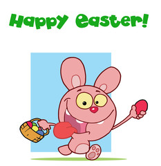 Pink easter rabbit running and holding up an egg