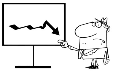 Outlined Grumpy Boss Pointing To A Decrease Board