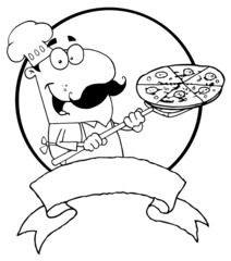 Outlined Male Pizzeria Chef Holding A Pizza