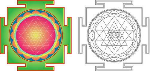Vector Shri  Yantra (or Sri Yantra) for Meditation .