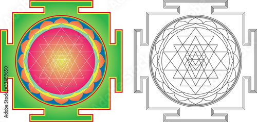 Vector Shri Yantra (or Sri Yantra) for Meditation