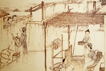 Old illustration of Chinese immigrants in Guadalupe.
