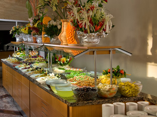 Buffet style food in restaurant.