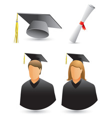 Male and female graduates, cap, and diploma