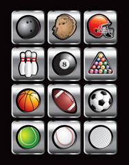 Sports balls in silver square web buttons
