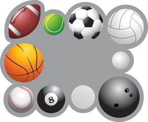 Sports balls framing a banner