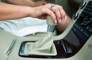 woman hand and gearshift