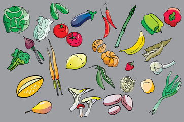 clip-art of fruits and vegetables