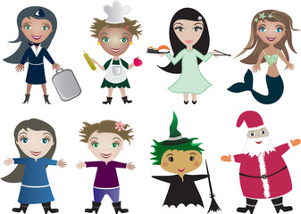 Vector children cartoon in profession uniform and  holiday cloth
