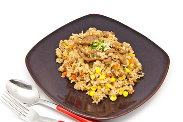 fried rice with pork and vegetable, japan food style