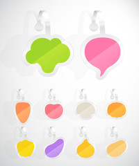 Set of colorful vegetables advertising stickers