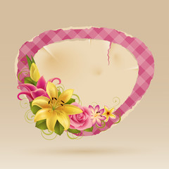 Wall Mural - Vintage pink bubble for speech with flowers