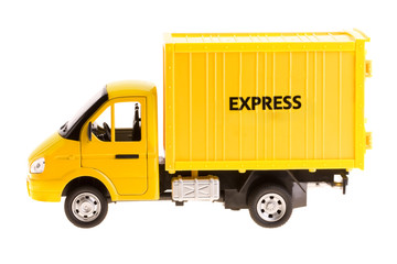 Yellow truck isolated on white