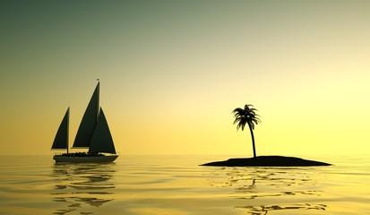Segelboot in Abenddämmerung