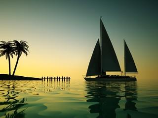 Segelboot in Abenddämmerung vor Steg