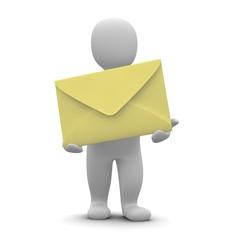 Man and big envelope. 3d rendered illustration.