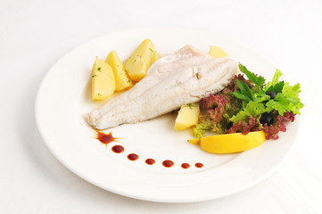 Steam pike perch with a garnish