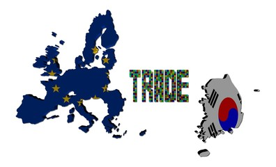 Trade text with EU and South Korean map flags illustration