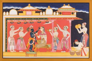 Miniature painting on paper, Jaipur,Rajasthan, India