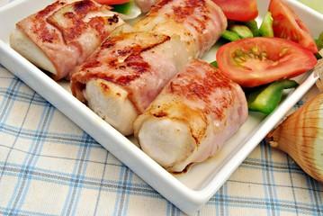 Brocheta de carne y verdura