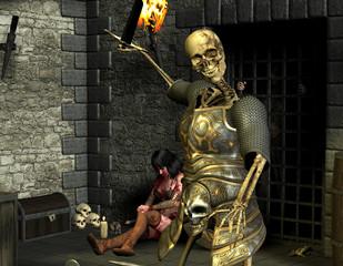 Skelett Krieger und verwundete Frau