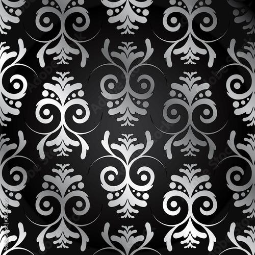 Tapete schwarz silber mit ornamente stockfotos und for Tapete schwarz silber