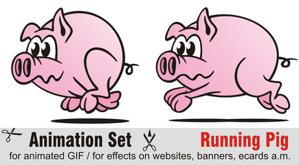 Animation Set Running Pig