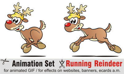 Animation Set Running Reindeer