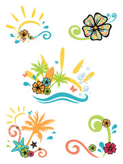 five illustrations on summer theme