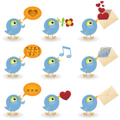 Cartoon birds icon set
