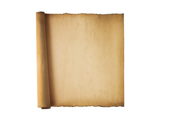 Vintage roll of parchment background isolated on white