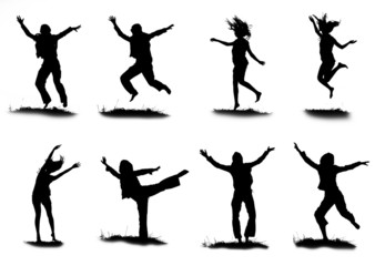 silhouette of a girl in different poses