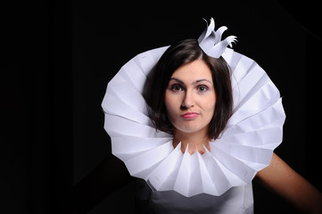 Woman in paper crown