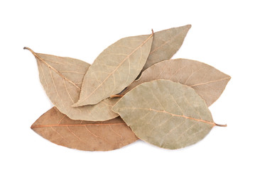 Dry aromatic bay leafs on white background