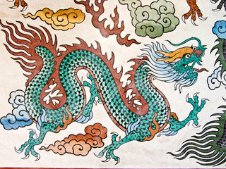 Dragon painting, Art Chinese style painting on wall in temple.