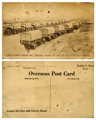 Army Overseas Postcard with Truck Convoy