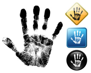 Hand pictogram and signs