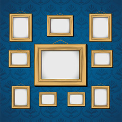 Picture Frames On Blue Wall