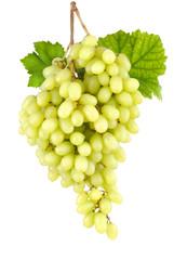 Kernlose süße Weintrauben auf weiß