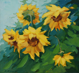 field with sunflowers drawn on a canvas oil,  illustration, pain