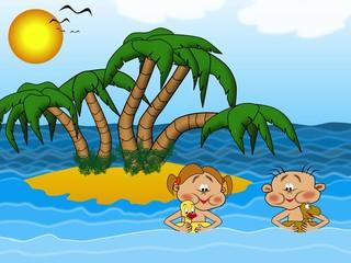 Foto op Plexiglas Rivier, meer Kinder im Wasser am Inselstrand