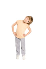The girl does body exercises, on a white background