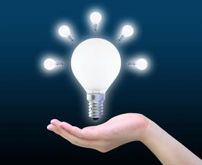 light bulb in women hand on dark