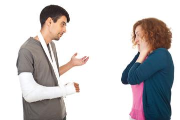 Injured man explain to worried wife