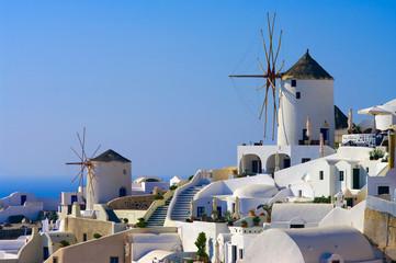 Traditional windmills in the Santorini