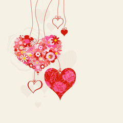 Hearts on strings romantic background