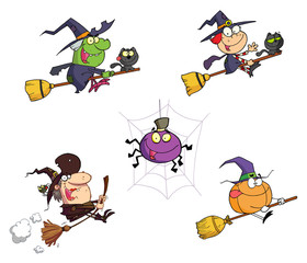 Halloween Cartoon Characters-Vector Collection
