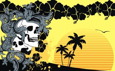 tropical hawaii skull background8